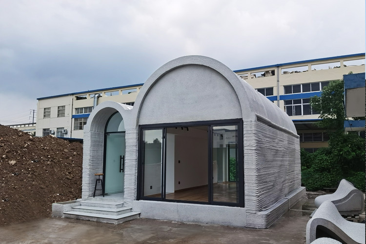 3D Printing Concrete House / Professor XU Weiguo's team from the Tsinghua University School of Architecture, Completion, perspective from the Southeast. Image © XWG Archi Studio at Tsinghua University