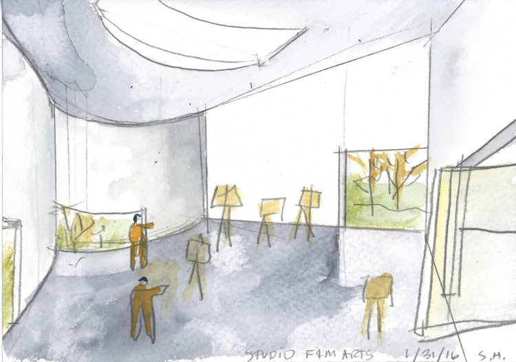 Watercolor sketch. Image Courtesy of Steven Holl Architects