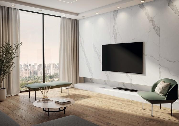 Conheça as Lastras Portobello junto a grandes nomes da arquitetura e do design, Portobello. Lastra Calacatta Blanc 90x270