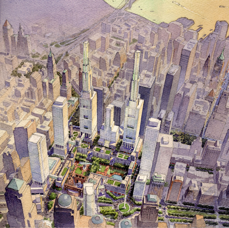 Urban Design in a Time of Anti-Space, Proposed Peterson Littenberg masterplan for the World Trade Center and surrounding area in New York City. Image © Peterson Littenberg Architects