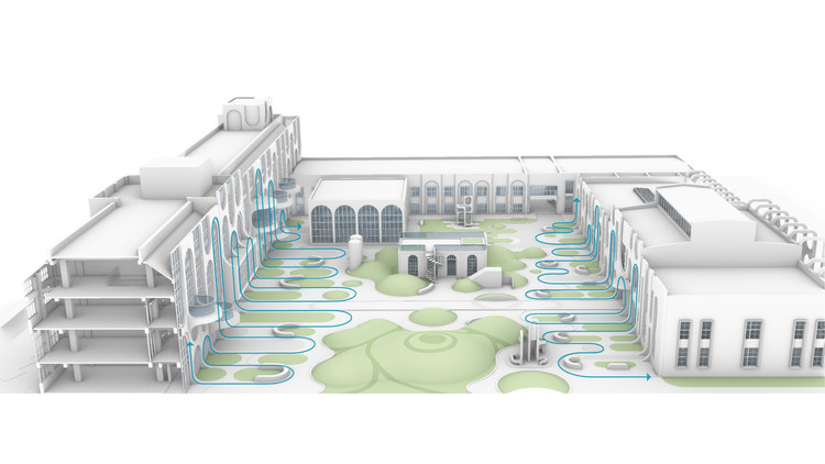 Concept diagram showing the connectivity between the facade and the landscape