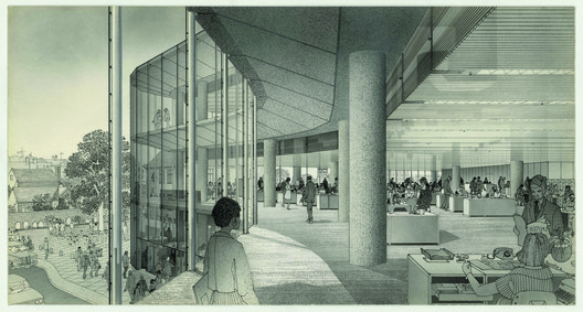 Norman Foster's Willis Faber and Dumas Headquarters, interior perspective  by Helmut Jacoby. Image © Birkhäuser