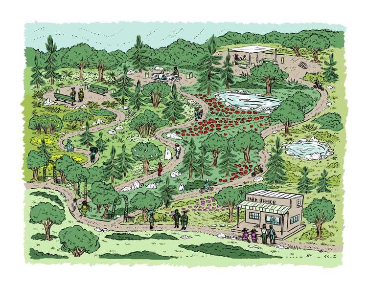 The Pandemic Offers an Opportunity to Re-Wild Our Communities, A re-wilded park. Illustration by Sarah Welch. Image Courtesy of SWA Group