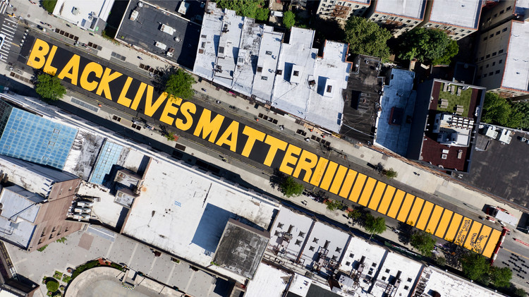 Landscape Architects of Color on How to Combat Erasure, An aerial shot of a Black Lives Matter mural on Brookyln, New York. Image © Audley C. Bullock | Shutterstock