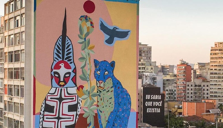 """São Paulo ganha mural ecológico que filtra o ar, Obra """"Pindorama"""" feita no mural em São Paulo pelo artista Rimon Guimarães. Foto: Converse City Forests"""