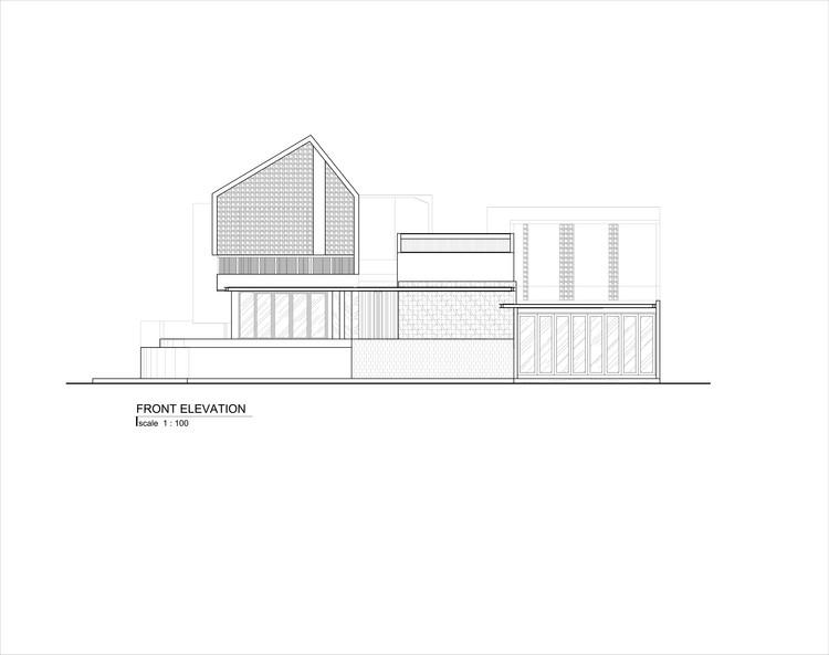 AR 04 FRONT ELEVATION - Well of Light House: Ngôi nhà được làm mát bằng cách tối ưu ánh sáng không khí qua khối xây dựng, mặt tiền, vật liệu