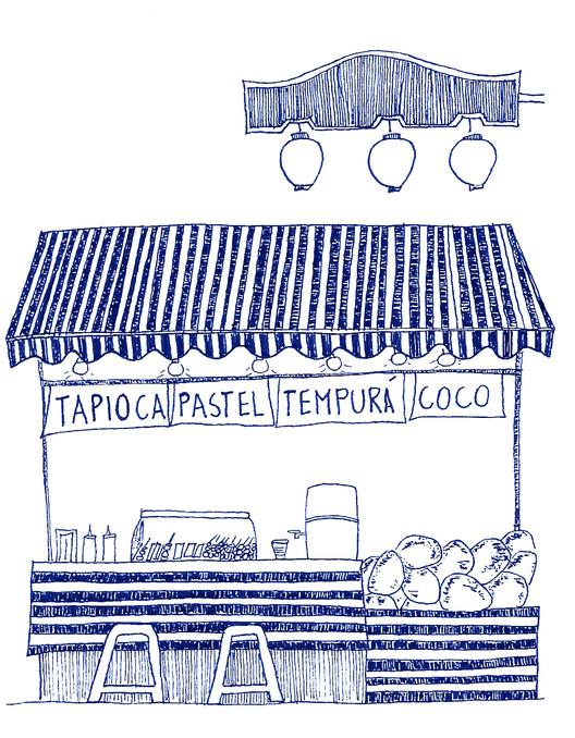 Guiapé SP: você já pensou em andar a pé em São Paulo?, Feira, Praça da Liberdade. Ilustração de Bruna Cardoso feita originalmente para o livro GUIAPÉ SP