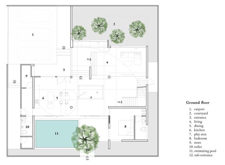 1 - The Hidden House: Bức tường màu trắng chủ đạo ôm trọn không gian