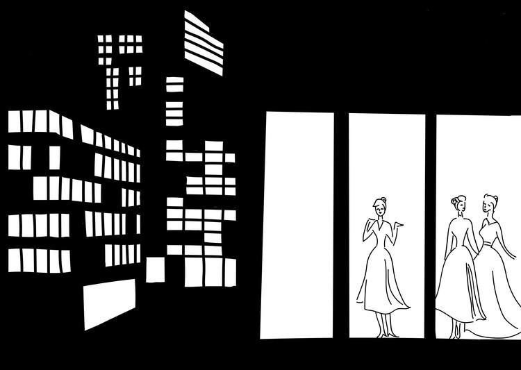 A mulher moderna no espaço público: a construção de um ideal feminino por meio de crônicas e anúncios, A representação das mulheres nos edifícios e calçadas das ruas de São Paulo.  Fonte: Jornal Estado de São Paulo, 06 de julho de 1958. Releitura por Beatriz Hubner