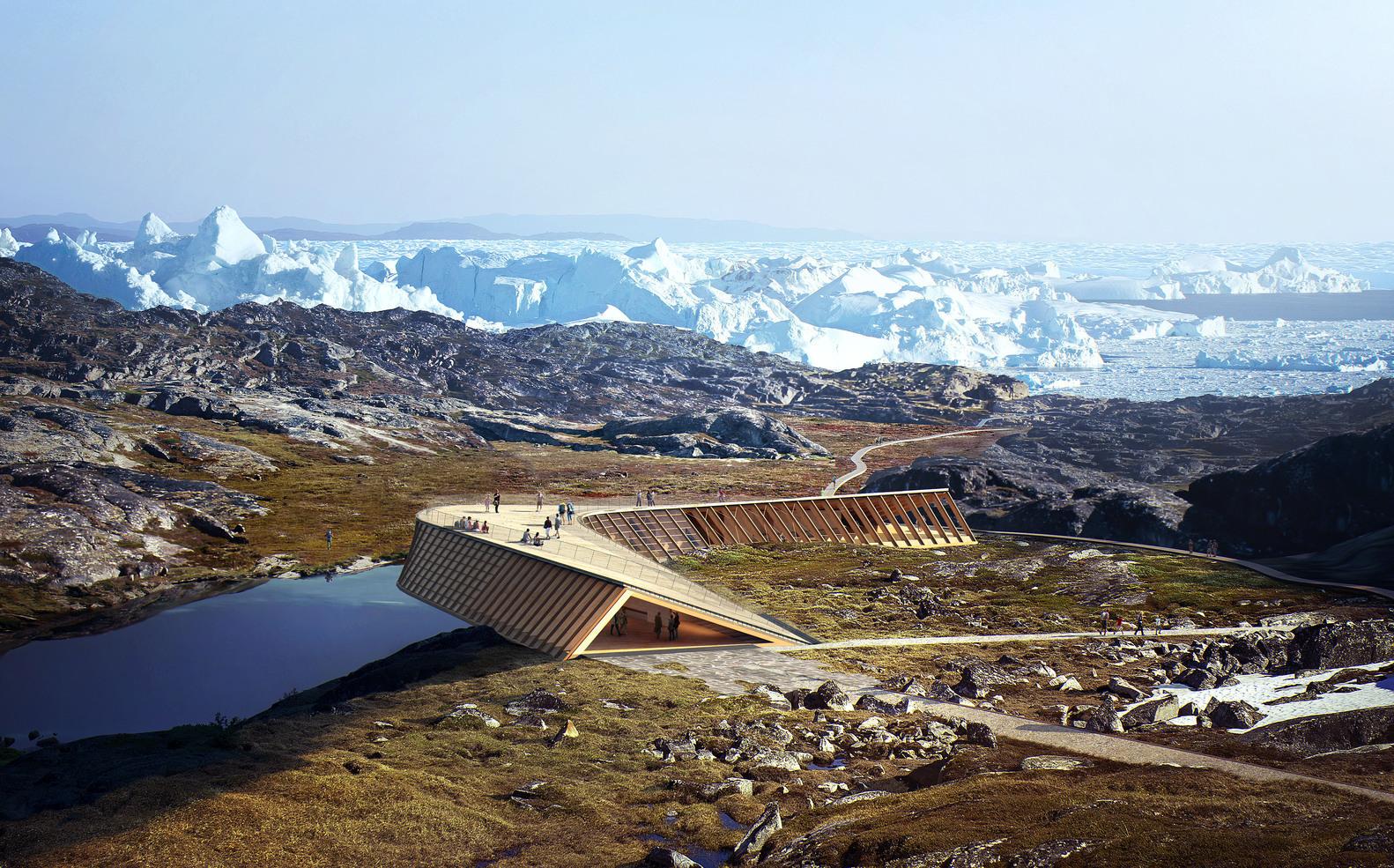Arquitectura y Naturaleza: Un marco para la construcción en el paisaje,Representación del Centro de visitantes de Icejford por Dorte Mandrup Architects. Imagen © MIR