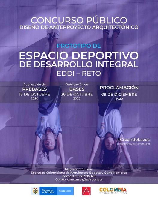 Concurso Público de Prototipo de Espacio Deportivo de Desarrollo Integral EDDI – RETO, Mindeporte y SCA BOGOTA Y CUNDINAMARCA