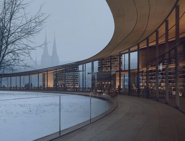Kengo Kuma diseña biblioteca de madera en Noruega, Cortesía de Kengo Kuma & Associates, Rendering by MIR