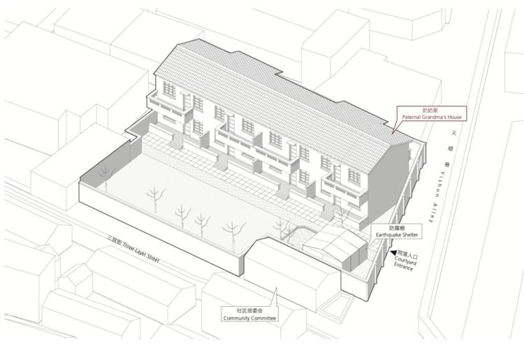 Isometric drawing of Fan Jiujiang's old house. Image Courtesy of Fan Jiujiang