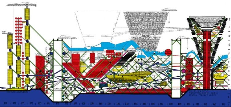 """Tras retrasos ocasionados por el coronavirus, M + lanza la exposición """"Archigram Cities"""" en formato híbrido, Peter Cook, Archigram. Plug-In City, Max Pressure Area, sección, 1964. Imagen © Archigram Archives via M +, Hong Kong"""