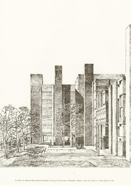 Reimpressão de livro sobre Louis Kahn traz seus desenhos de volta ao alcance do público, Perspectiva externa de Kahn dos edifícios de Pesquisa Médica e Biologia Alfred Newton Richards para a Universidade da Pensilvânia, Filadélfia, Pensilvânia. Imagem © Designers & Books