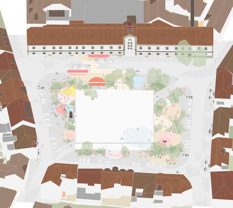 Una escuela rural en Haití y un centro comunitario para mujeres en India: 12 proyectos sin construir presentados por nuestros lectores, Zbraslav Square . Image Courtesy of Architects for Urbanity