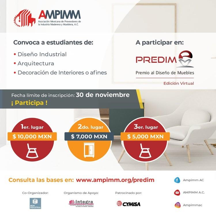Convocatoria abierta para el Premio al Diseño de Muebles PREDIM 2020, evento organizado por AMPIMM y la Expo MEM Industrial con el apoyo de la Asociación Di-Integra y ArchDaily.