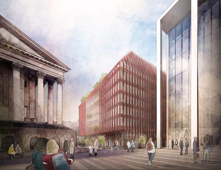 FCBStudios Wins Competition to Design New Paradise Building in Birmingham, Three Chamberlain Square. Image Courtesy of FCBStudios