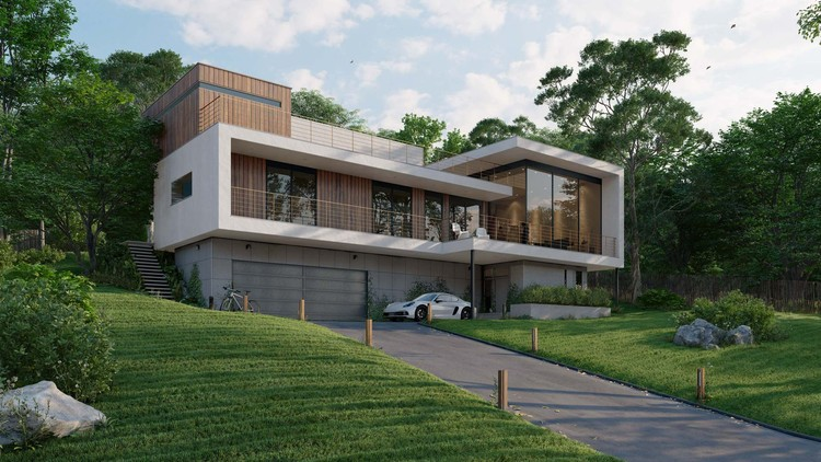 Add Personality and Ambience to Architectural Renderings with Lumion 11, Residential exterior, rendered in Lumion 11