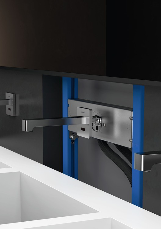 How do Touchless Bathroom Fittings Work?, There are no installation problems with Geberit's washbasin mixers due to their practical mounting elements. All electronic components are stored in a separate box, meaning they are protected and easily accessible for repairs. Image via Architonic