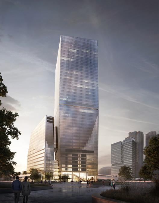 Snøhetta diseña Airside, un edificio de uso mixto en un antiguo aeropuerto en Hong Kong, © Snøhetta/Brick Visual