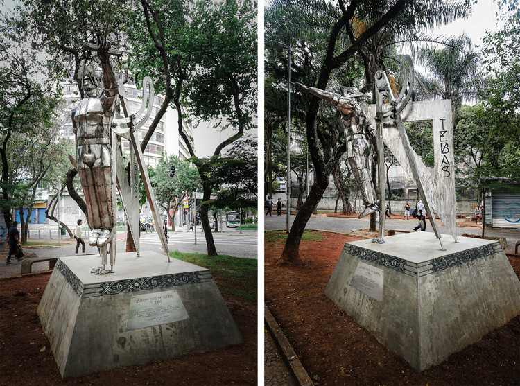 Inaugurada em São Paulo a estátua de Tebas, arquiteto escravizado no século XVIII, Estátua de Joaquim Pinto de Oliveira, Tebas, na Praça Clóvis Beviláqua. Image © Marcel Farias