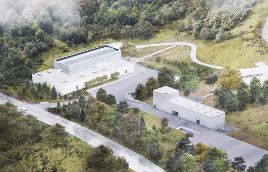 Rendering depicting aerial view of Magazzino Italian Art's campus, including a new freestanding building.. Image Courtesy of J.C. Bragado & J. Mingorance