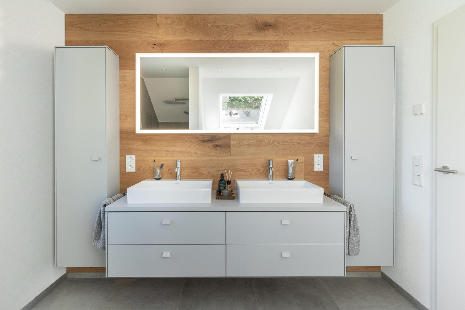 Gallery Of Natural Wood Gray And White How To Update A 90 S Bathroom 4