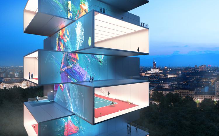 Carlo Ratti Associati projeta torre com quadras de tênis empilhadas, Playscraper - Tennis Tower.  Cortesia de CRA: Gary di Silvio