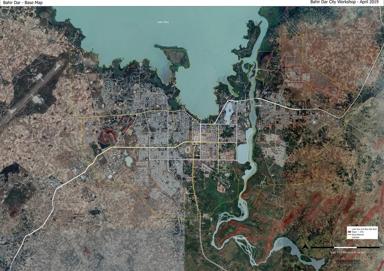 UN-Habitat lança manual para o desenvolvimento urbano sustentável em pequenas cidades, Satellite image of Bahir Dar (Ethiopia) Support of the Sustainable Structure Plan of Bahir Dar. Image Courtesy of UN-Habitat