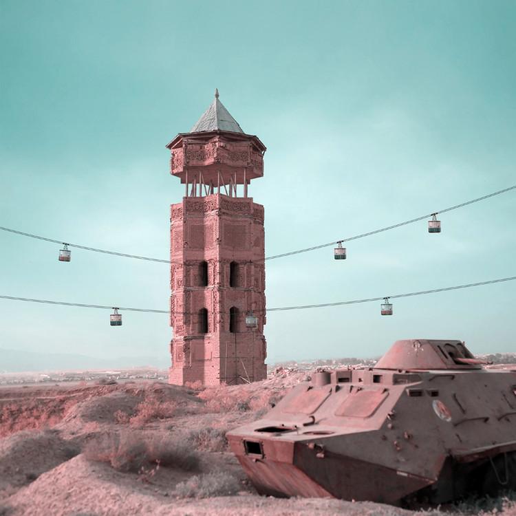 Antigos miranetes persas são transformados em colagens retrofuturistas, © Mohammad Hassan Forouzanfar