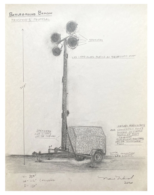 "Nari Ward, rendering for ""Battleground Beacon"", 2020. Graphite on paper.From the 2020 organizational grant to Prospect New Orleans for the exhibition ""Prospect.5: Yesterday we said tomorrow"". Image Courtesy of the artist"