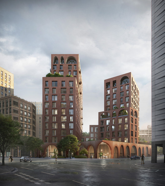 Alison Brooks Imagines Cadence, a Mixed-Use Urban Block, Part of the King's Cross Central Masterplan in London, Courtesy of Alison Brooks Architects