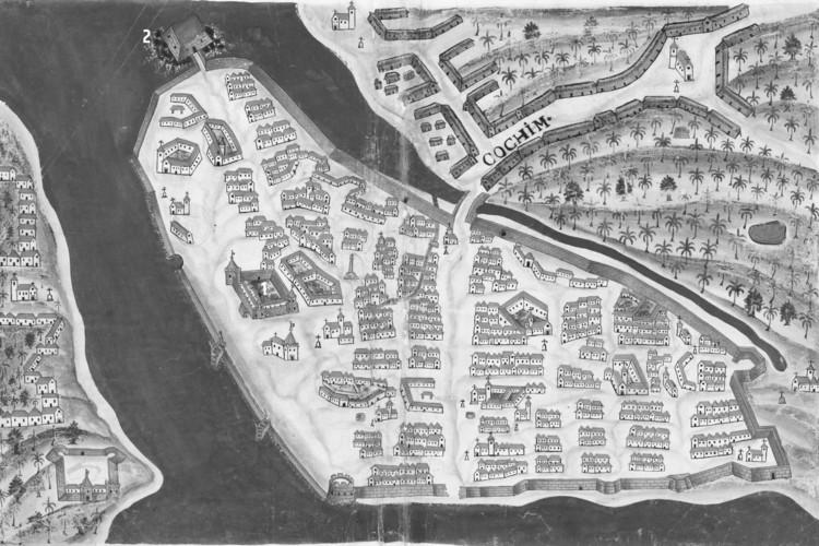 Resignificando paisagens: novas discussões sobre acidadeindo-portuguesade Cochim, FIG. 5: Planta da cidade de Cochim, de Pedro Resende, 1635 (BOCARRO, 1635). Fonte: BIBLIOTECA NACIONAL DIGITAL DE PORTUGAL. Editado pelo autor