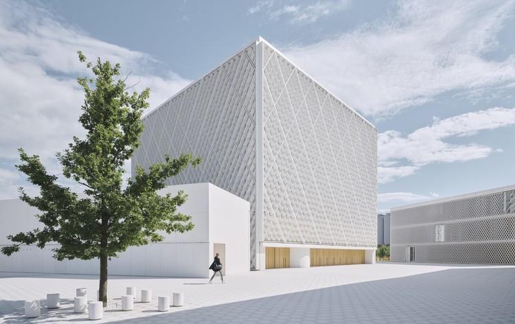 Islamic Religious and Cultural Center in Ljubljana / Bevk Perović arhitekti. Image © David Schreyer