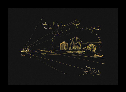 An autographed, 24k gold leaf sketch of the Abrahamic Family House by David Adjaye. Image Courtesy of ARCH
