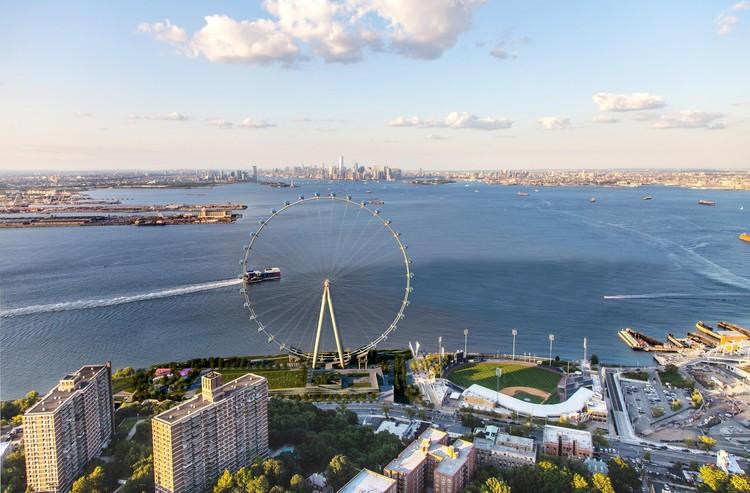 La ciudad de Nueva York solicita propuestas para construir viviendas 100% asequibles en Staten Island, Rueda de Nueva York, Staten Island. Imagen cortesía de Perkins Eastman