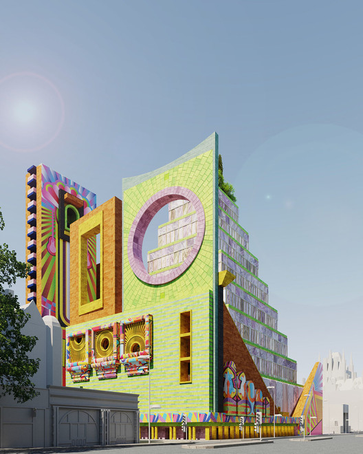 A arquitetura britânica se diz progressista, mas atua pela exclusão, The Liberal Archive (2020). A proposal for an open repository of digital and material culture, located next to the British Library in London. Image © Adam Nathaniel Furman