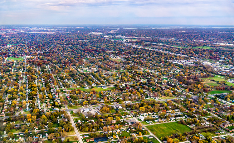 The Work of Architecture in the Age of Mechanical Reproduction, Suburban area in Detroit, United States. Image © Leonid Andronov | Shutterstock