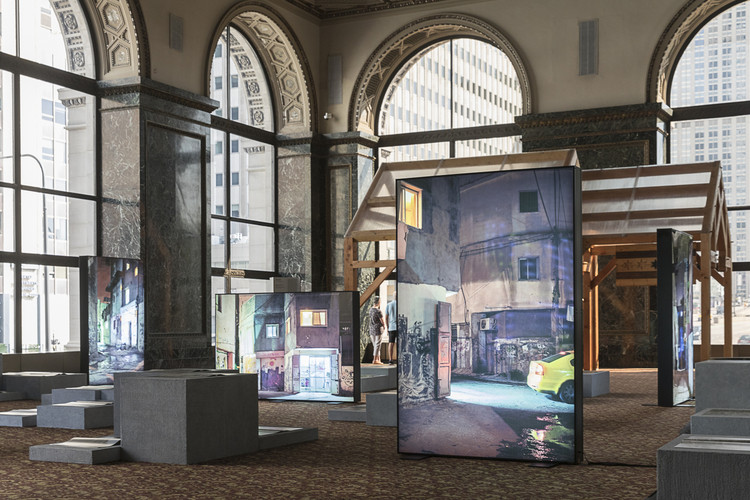 """Refugee Heritage"" Exhibition at the 2019 Chicago Architecture Biennial / Ana María León and Andrew Herscher. Photo: © Laurian Ghinitoiu"