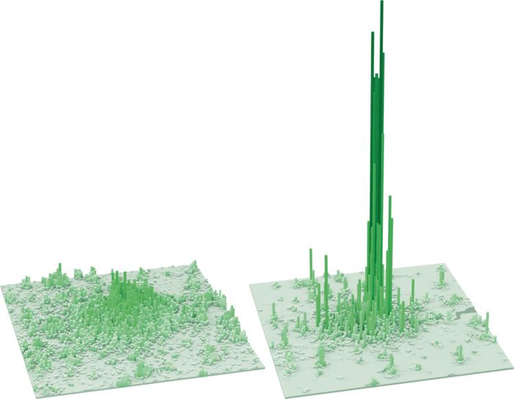 À esquerda, densidade de habitantes em Londres. À direita, densidade de trabalhadores em Londres. Fonte: London First; LSE Cities