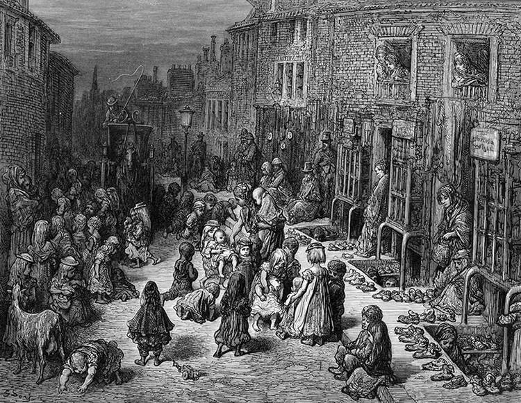 """Representação das Slums de Londres na Revolução Industrial. Imagem: """"Douglas Jerrold's London, a Pilgrimage"""", por Gustave Doré, 1872"""
