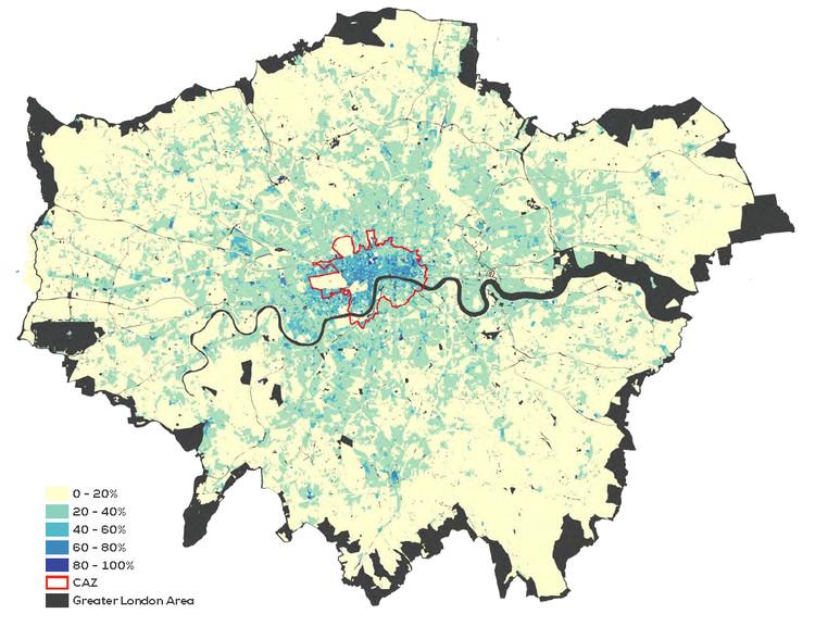 Taxa de ocupação das edificações em Londres. Fonte: London First; LSE Cities