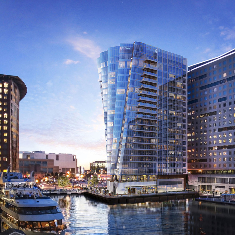 Sliding Windows in High-Rise Buildings: How Air-Lux Systems Ensure Air and Water Tightness, The St. Regis Residences – a striking new high-rise building in Boston Harbour – is glazed with Air-Lux sliding windows. Image Courtesy of Air-Lux
