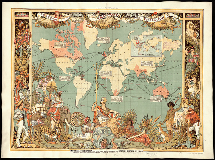 Imperial Federation, map of the world showing the extent of the British Empire, England, map, Colomb, John Charles Ready, 1886 / Boston Public Library, Normal B. Leventhal Map Center,. Image Courtesy of Princeton Architectural Press
