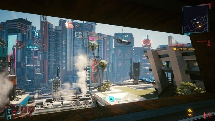 'Cyberpunk 2077' es una crítica de la arquitectura sin nada que decir, La vista desde el apartamento de V, la base inicial del jugador en Cyberpunk 2077. Imagen © Ryan Scavnicky / CD Projekt RED