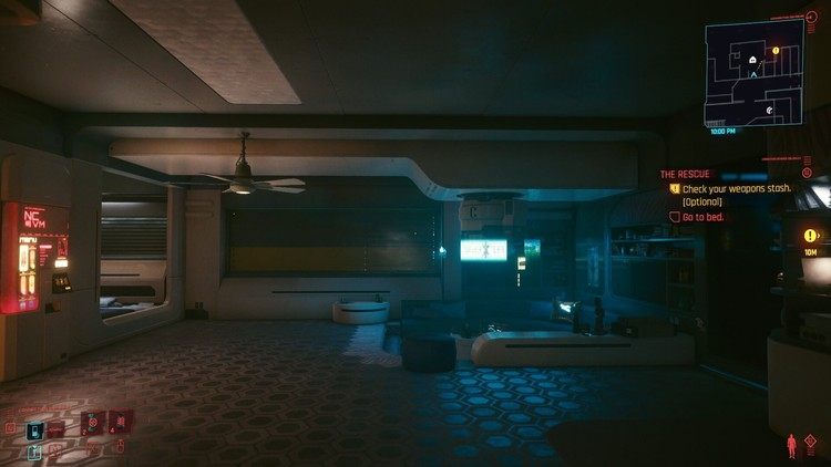 A screenshot of the inside of V's apartment with the window closed. Image © Ryan Scavnicky/CD Projekt RED