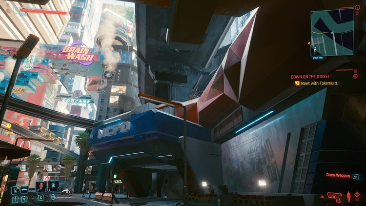 A premier view of Night City that includes the NCPD building in question. Image © Ryan Scavnicky/CD Projekt RED
