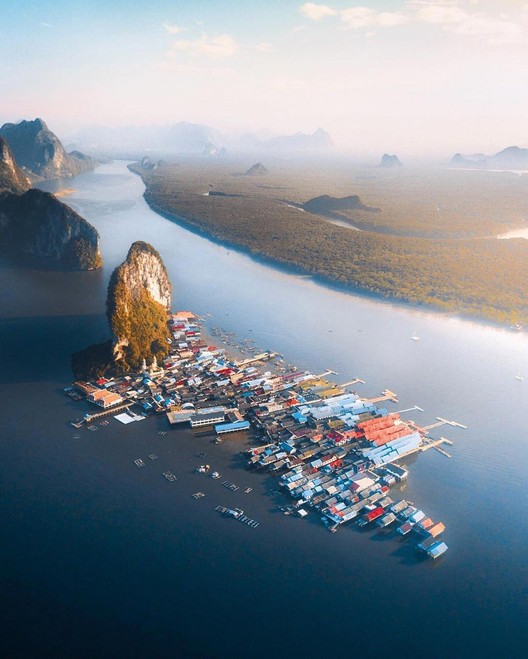 Ko Panyi: A Floating Village in Thailand, Drone photo courtesy of @jordhammond.