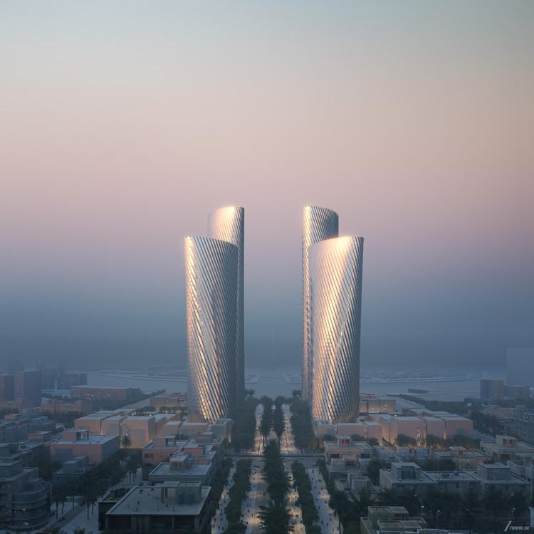 Foster + Partners projeta quatro arranha-céus em novo distrito financeiro no Catar, © Tmrw courtesy of Foster + Partners